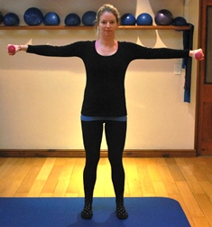 Arm exercise Rhomboid squeeze starting position